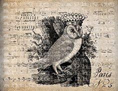 Antique Crown Bird French France Digital Download for Tea Towels, Papercrafts, Transfer, Pillows, etc Burlap No 5845. $1.00, via Etsy.