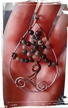 Wirewrapped tree of life.... Lebensbaum Achat und Granat
