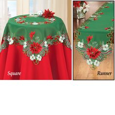 Embroidered Poinsettia Greenery Table Linens