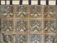 Inspiring Decorative Black Gold Elephant Brocade Fabric Window Curtain Panel