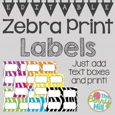 """Zebra Print Labels - EDITABLE!This is a POWERPOINT which contains 7 slides of zebra labels in 7 different colors (black, pink, purple, green, yellow, blue, orange). Each slide is sized to 11"""" x 8.5"""", and each individual label (when cut appropriately) is 4.25"""" x 5.5"""".To use, insert a text box in each label and customize to your needs! Be sure to look for my Beginning of the Year Big Bundle in zebra print in my shop, as we..."""