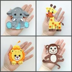PATTERN Jungle Animal Applique Crochet Patterns PDF Elephant