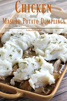 Chicken and mashed potato dumplings. A new twist on a childhood comfort food favorite! #downrightdelicious #CG AD @IdahoSpuds