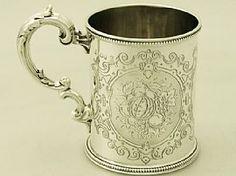 'Antique Victorian Christening Mug' A fine and impressive antique Victorian English sterling silver christening mug made by Edward & John Barnard.