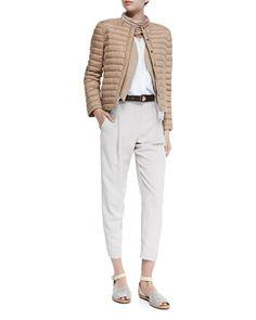 Puffer Jacket with Monili Placket, Open-Front Jute Vest W/ Fringe, Sleeveless Layered-Hem V-Neck Top, Multi-Strand Leather Necklace, Loop-Close Textured Leather Belt & Cropped Pants with Zip Hem