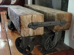 Old Barn Beam and Industrial Caster Coffee Table, $800.00