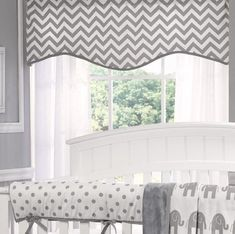 Gray Chevron Window Valance - Liz and Roo. The perfect match for any of our gray chevron, elephants and polka dots separates. Shop the entire collection now! High quality, made in America nursery bedding. Crib Bedding Sets, Chevron Valance, Window Coverings, Window Treatments, Valences For Windows, Baby Room Storage, Interior Design Courses, Grey Chevron