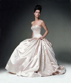 Wedding, Pink, Dress, Strapless, Kenneth pool, Ballgown