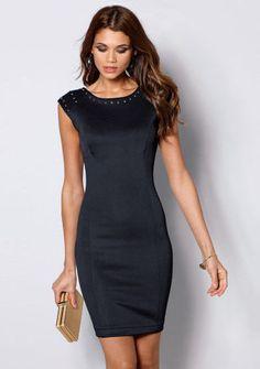 Pouzdrové šaty se štrasovými detaily  ModinoCZ  fashion  dress  elegance   black  littleblackdress  saty  moda  cerna  klasika 08e0628a553