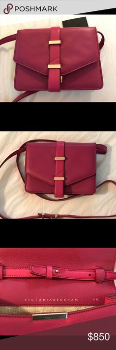 """Authentic Victoria Beckham Mini Satchel Bag Fine grained buffalo and calf leather in two shades of fuchsia with gold tone hardware. Strap drop is 23"""". Bag is 5.5"""" by 7.5"""" by 1.5"""". In perfect condition. Comes with care instructions but no dust bag. Victoria Beckham Bags Crossbody Bags"""