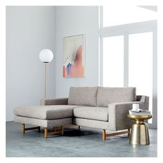 West Elm Eddy Flip Sectional, Feather Gray, Deco Weave ($1,299) ❤ liked on Polyvore featuring home, furniture, sofas, west elm sofa, grey furniture, west elm sectional, gray furniture and woven furniture