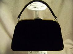VINTAGE ADRIEN 'N EMILIE BLACK VELVET HANDBAG-VGC Vintage Gifts, Black Velvet, Gift Ideas, Silver, Bags, Style, Fashion, Handbags, Moda