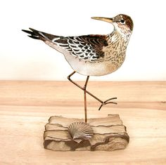 Sandpiper facing up on Sandstone - Tabletop by Bovano of Cheshire. Vitreous enamel (pulverized glass) is applied by hand, using a delicate sprinkling method layered over solid copper and then kiln fired. American Made. See the designer's work at the 2015 American Made Show, Washington DC. January 16-19, 2015. americanmadeshow.com #sculpture, #enamel, #copper, #bird, #americanmade, #sandpiper