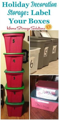 Holiday decoration storage tip: label your storage boxes or other containers so you can find and easily identify what you've got inside from year to year on Home Storage Solutions 101 Garage Storage Solutions, Diy Garage Storage, Attic Storage, Storage Ideas, Attic Organization, Creative Storage, Organizing Tips, Organising, Attic Playroom