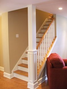 Home Remodeling Basement Is it greater than before to rebuild stairs or helpfully refinish? find out roughly the costs, labor, and pros and cons of vary ways you can finish your basement stairs. Open Basement Stairs, Open Stairs, Basement Bedrooms, Dark Basement, Basement Lighting, Rustic Basement, Modern Basement, Basement Bathroom, Cozy Basement