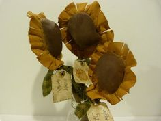 Primitive Flowers | Primitive Sun Flowers Fall Pattern FREE shipping in US