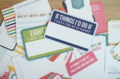 Life lists cards: Filled with prompts to help you create lists of everything from favorite restaurants and people you text the most to things you do every week and foods you never want to eat again, these cards will get you thinking about – and documenting – those things that make you inherently YOU!