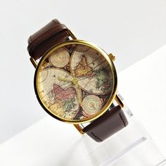 Genuine Leather Map Watch, Vintage Style Leather Watch , Women Watches,Mens Watch, Boyfriend Watch, World Map, Brown, by FreeForme on Etsy