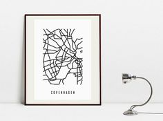 Copenhagen Abstract Map  Original Black and White Art by Postery