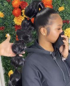 Messy Ponytail Hairstyles, Sleek Ponytail, African Braids Hairstyles, Braided Ponytail, Weave Hairstyles, Cute Hairstyles, Stylish Hairstyles, Beautiful Hairstyles, Birthday Hairstyles
