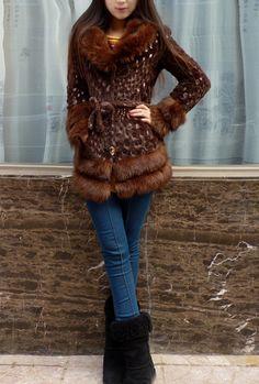 rabbit fur outerwear white fur coat fur collar outerwear slim overcoat