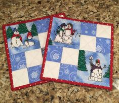 Quilted Potholders, Snowmen pot holders, blue and white, trivet, hot pads, Quiltsy handmade, Item #8