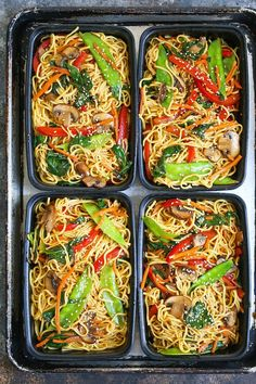 Lo Mein Meal Prep - Save time, money and calories when you prep for the entire week! Made SKINNY with whole wheat spaghetti and chockfull of veggies! Lo Mein Meal Prep Karryx xyz karryx FOOD Meal Prep Lo Mein Meal Prep - Save time, money and calori Vegetarian Meal Prep, Meal Prep For Vegetarians, Weekly Lunch Meal Prep, Easy Healthy Meal Prep, Easy Meal Prep Lunches, Vegetarian Italian, Healthy Weekend Meals, Meal Prep Dinner Ideas, Simple Meal Prep