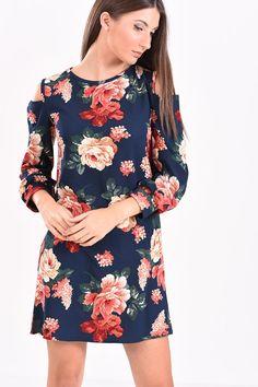 c181612551fa Φόρεμα μακρυμάνικο κοντό φλοράλ σε μπλε αποχρώσεις
