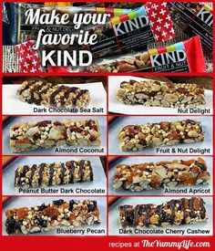 """Homemade KIND Bars: Copycat recipes for 8 popular varieties of these high protein, energy, & nutritional nut bars"" -- Includes illustrated recipes for: Nut Delight; Almond Coconut; Dark Chocolate, Nuts & Sea Salt; Peanut Butter Dark Chocolate; Dark Chocolate, Cherry & Cashew; Apricot Almond; Fruit & Nut; and Blueberry Pecan. Notes about gluten free and vegan versions, as well. YUM!"