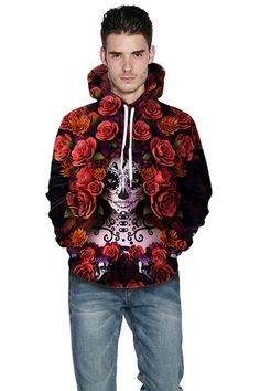 Red hoodie with Floral digital print 3D sweater hoodie – menlivestyle Red Hoodie, Hooded Sweater, Printed Hoodies, Christmas Sweaters, Digital Prints, Hipster, Ruffle Blouse, Floral, 3d