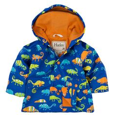 Hatley Boys Crazy Chameleons Raincoat   Your little boywill love the bold and bright Chameleons print on this raincoat from Hatley.