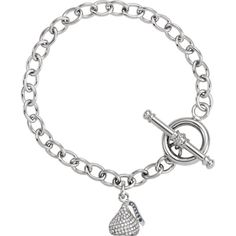 """Hershey's Kisses 5/8 Ct. 3D Diamond 6mm 7.5"""" Toggle Bracelet in 14K White Gold 10x13mm. Hershey's 3 Dimensional 5/8 Ct. Diamond Kiss Toggle Bracelet. 167 Sparkling SI1/SI2 G/H Diamonds. Highly Polished 14K White Gold. Hershey's Branded/Licensed Item. FREE PRIORITY SHIPPING within the continental US, NO HASSLE RETURNS and GREAT SERVICE."""