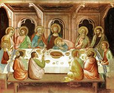 Last supper. John seems to sleep in Christ's lap while the son of God gives bread to Judas. Lippo Memmi, 14th century.
