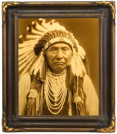 Edward S. Curtis - Chief Joseph - Nez Perce, Goldtone Print. Rare and important Native American photographs for sale on CuratorsEye.com