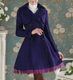 Turn-Down Collar Purple Voile Hem Design Waisted Double-Breasted Long Sleeves Blended Women's Coat, BLUE, M in Jackets & Coats | DressLily.c...