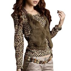 Allegra K Leopard Print Round Neck Pullover Shirt Top w Vest for Women Allegra K. $11.93