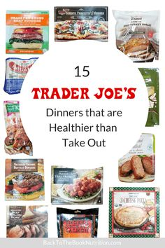 15 Trader Joe's fast and easy dinners that are healthier than take out - great options for busy nights when cooking from scratch isn't an option! Clean Eating Recipes, Eating Healthy, Healthy Food, Healthy Drinks, Healthy Living, Healthy Meals, Top Recipes, Real Food Recipes, Healthy Recipes