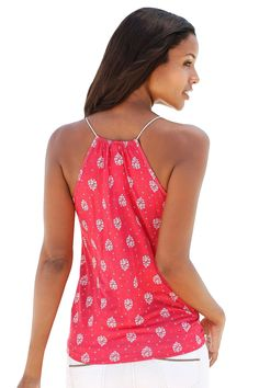 9743596f509 Red Flowery Print Spaghetti Strap Vest Top