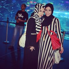 nice Stripped Hijab Model with Maxi Long Costume Mixture