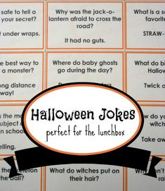 23 Halloween Jokes for Kids. Pumpkins, witches and monsters. What spooky creatures could make better Halloween jokes for kids? Here are 23 printable jokes! Casa Halloween, Halloween Jokes, Halloween Class Party, Holidays Halloween, Halloween Stuff, Halloween Crafts, Halloween Celebration, Halloween Stories For Kids, Logan Halloween