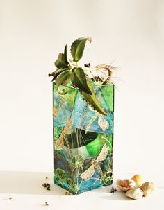 Hand Painted Glass Vase Dragonfly Design Hand by NevenaArtGlass, $89.00