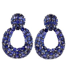 Open Blue Sapphire and Diamond Earrings