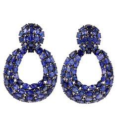 Open Blue Sapphire and Diamond Earrings