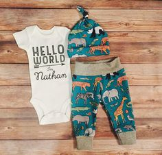 The perfect, complete coming home outfit for your baby boy is finally here! The bodysuit is a super soft universal style, made with high quality heat transfer vinyl and pressed in a professional grade