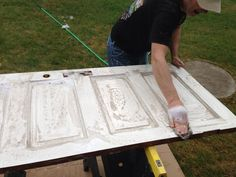 Find a wonderful old panel door--antique store or better yet--someone's garage! Typically the top and bottom of a panel door is not equally spaced. Measure and use a table saw to trim up. Headboard From Old Door, How To Make Headboard, Making A Headboard, Diy King Size Headboard, Furniture Projects, Furniture Makeover, Home Projects, Diy Furniture, Furniture Upholstery