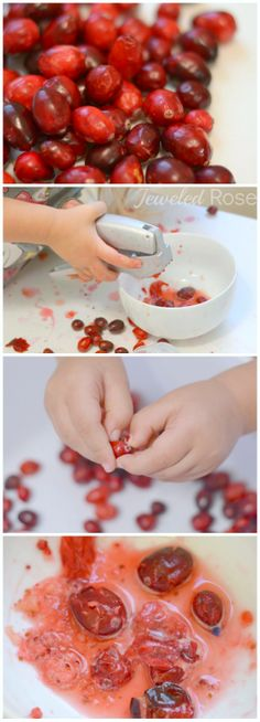 Cranberry sensory play; tasting, smelling, squeezing, filling, pouring, dumping, and making cranberry juice.... so many fun ways for kids to explore! {A fun Thanksgiving activity for kids}