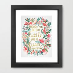 Little & Fierce Framed Art Print by catcoq Book Lovers Gifts, Book Gifts, Quote Prints, Framed Art Prints, Framed Wall, Popular Art, Girl Nursery, Girl Room, Nursery Ideas