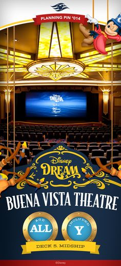 Inspired by the golden age of cinema, this grand movie theatre onboard Disney Cruise Line's Disney Dream boasts Art Deco splendor. It's a beautifully designed cinema showcasing first-run films as well as popular motion-picture releases and classic Disney films.