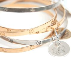 Thin Gold Medical Alert Charm Bracelet Bangle by SerpentAndStaff
