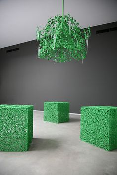 Flower Power Contemporary Chandelier in a customised green finish. See more modern lighting collections and finishes at WWW. High End Lighting, Modern Lighting, Lighting Design, Residential Lighting, Metal Chandelier, Contemporary Chandelier, Modern Light Fixtures, Light Project, Hanging Lights